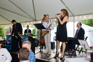 Performing at Matthew and Brian's wedding. One of the grooms is getting ready to play saxophone with my quartet.